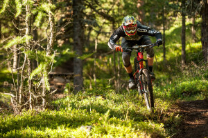 Markus REISER from Germany races down Stage 1 during the 3rd stop of the European Enduro Series at Reschenpass, Austria on July 26, 2015. Free image for editiorial usage only: Photo by Andreas Vigl