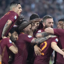 Romas Stephan El Shaarawy jubilates after scoring the  2-1 goal during Serie A soccer match as Roma vs FC Juventus at Olimpico Stadium in Rome, 14 May 2017. ANSA/CLAUDIO PERI
