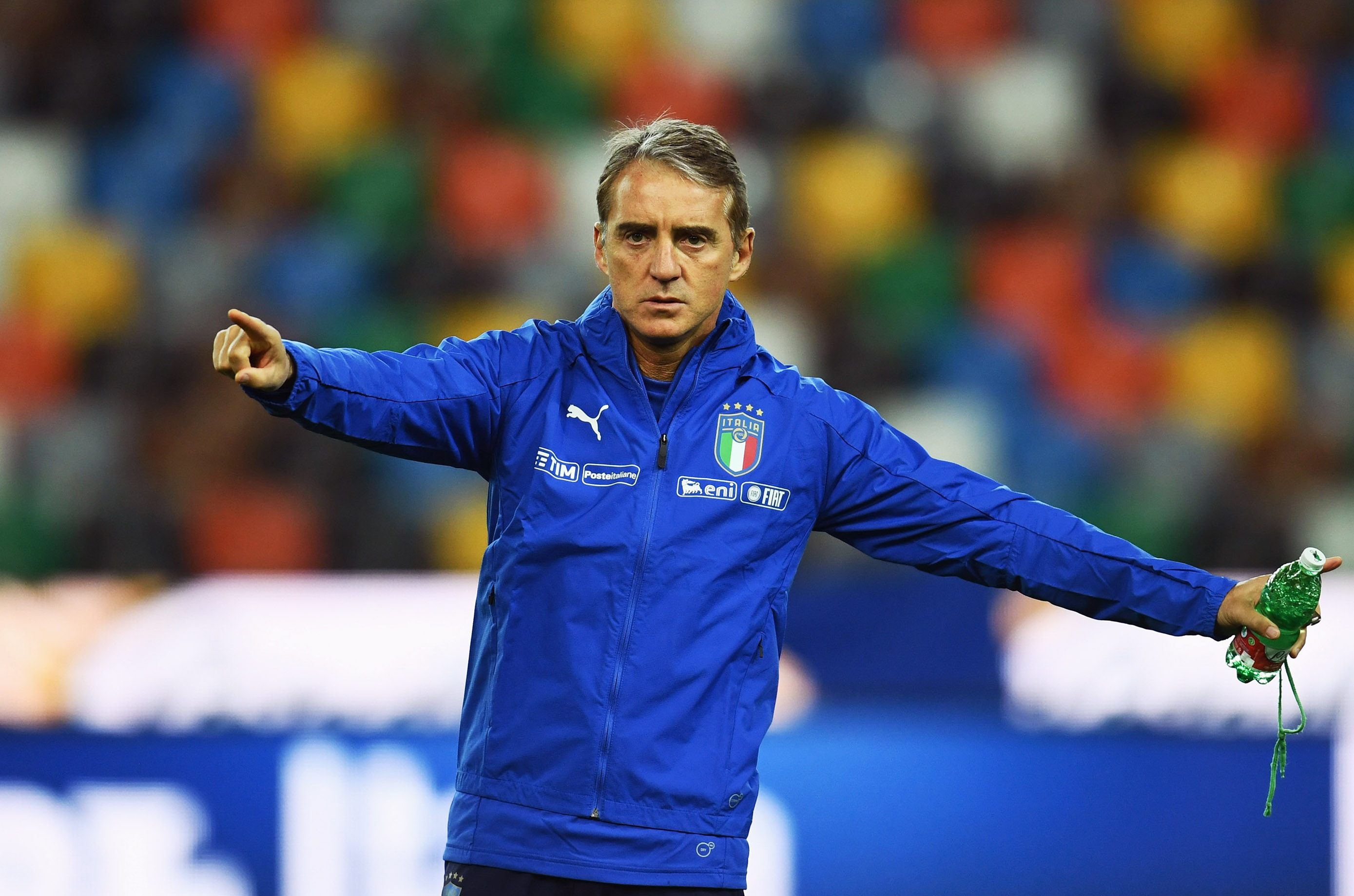UDINE, ITALY - MARCH 22:  Head coach Italy Roberto Mancini reacts during a training session at Stadio Friuli-Dacia Arena on March 22, 2019 in Udine, Italy.  (Photo by Claudio Villa/Getty Images)
